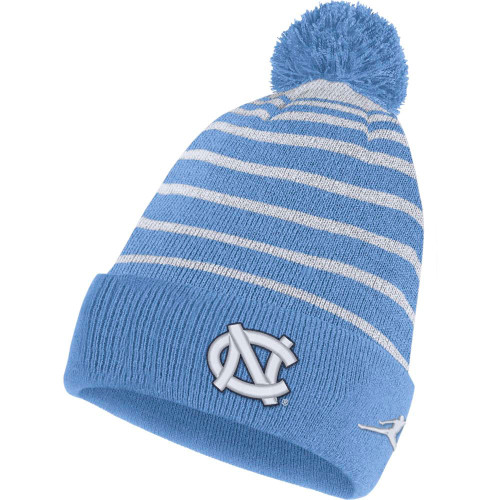 Carolina Blue and White toboggan with an interlocking NC on the cuff
