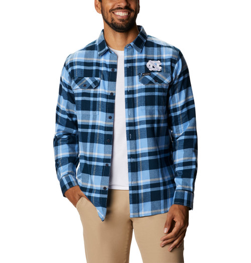 Columbia flannel that is mostly navy with Carolina Blue and white
