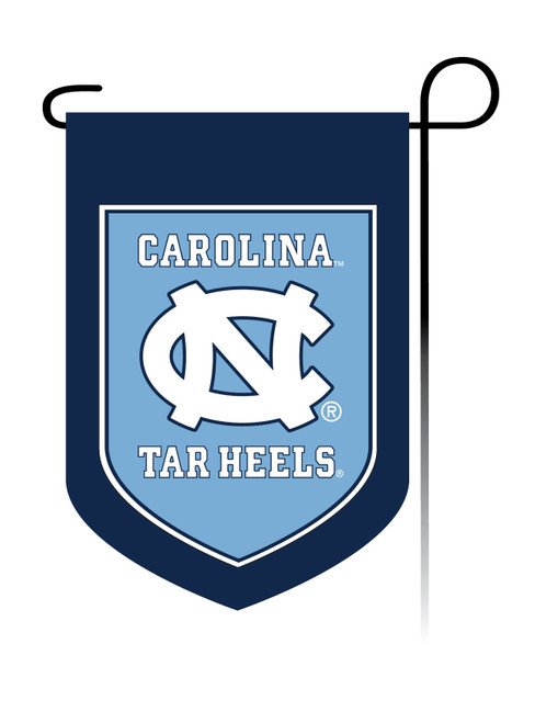 garden flag that states Carolina over an interlocking NC then Tar Heels.  Shield shape.