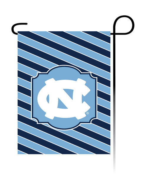 garden flag that the background is diagonal stripes of Carolina Blue and navy with an interlocking NC