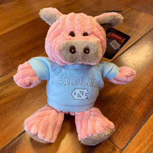 stuffed pig wearing a Carolina tee shirt