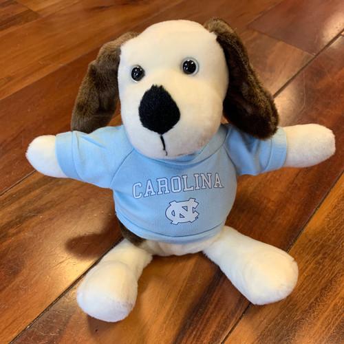 stuffed puppy wearing a Carolina tee shirt