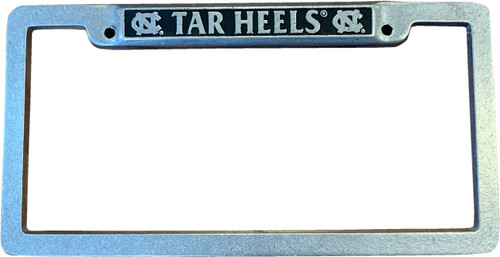 square pewter license plate with interlocking NC