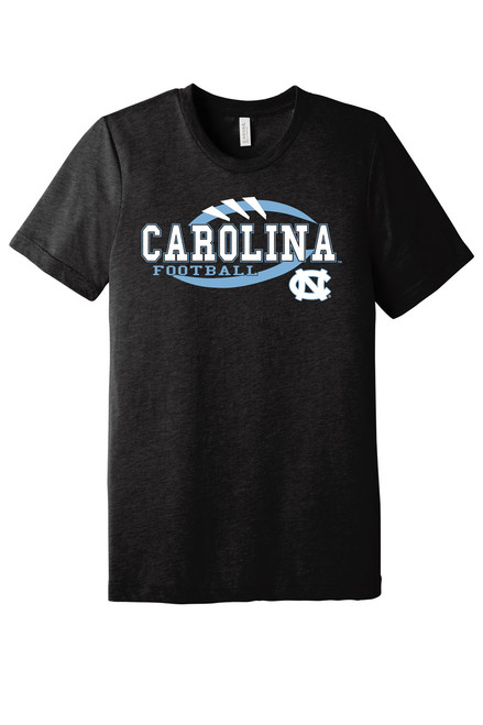 Black heather tee shirt with logo that is stitches and outline of football with lettering Carolina Football and an interlocking NC.