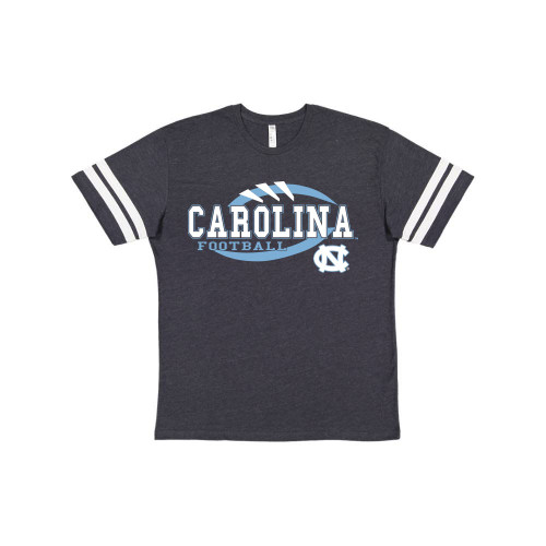 Navy heather tee shirt with sewn on white sleeve stripes with logo that is stitches and outline of football with lettering Carolina Football and an interlocking NC.