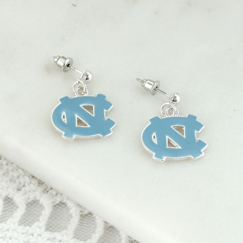 Interlocking NC earrings on a silver post.