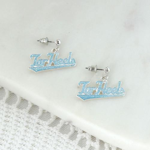 Script Tar Heels enamel Carolina Blue on post earrings.