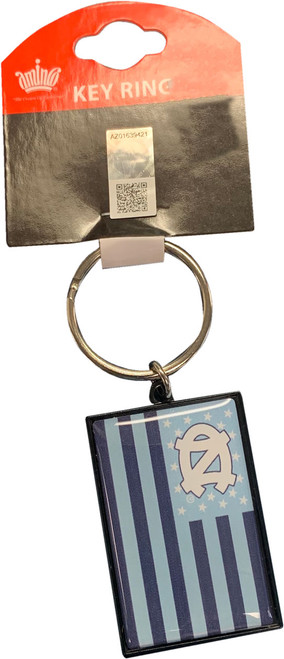 Carolina key chain that is a flag with the interlocking NC as the field of blue and Carolina Blue and navy stripes.