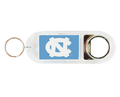 Carolina key chain that is lucite with interlocking NC on one side and Tar Heels on the other with a penny at the end.