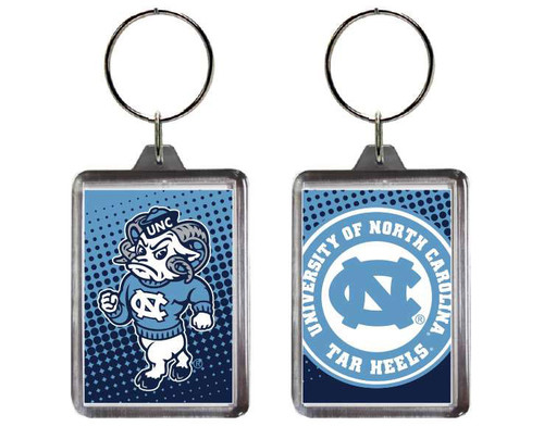 Carolina key chain that is a lucite rectangle with a strutting Rameses on one side and a circle logo Univ of North Carolina Tar Heels on the other.