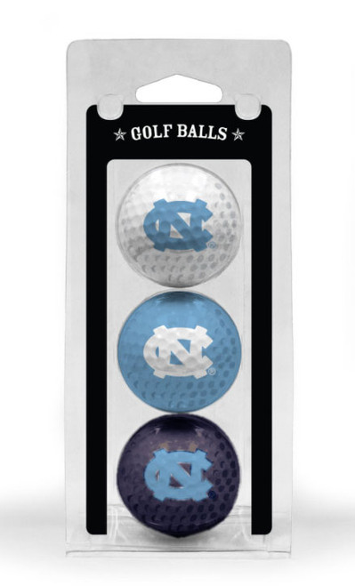3 pack of UNC golf balls - one white one Carolina Blue one navy