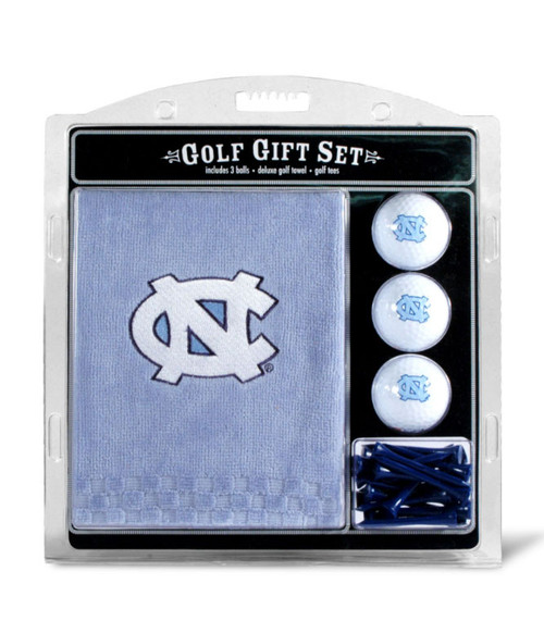 UNC golf set that includes a towel 3 white Carolina golf balls and Carolina Blue tees and white tees both printed with Tar Heels.