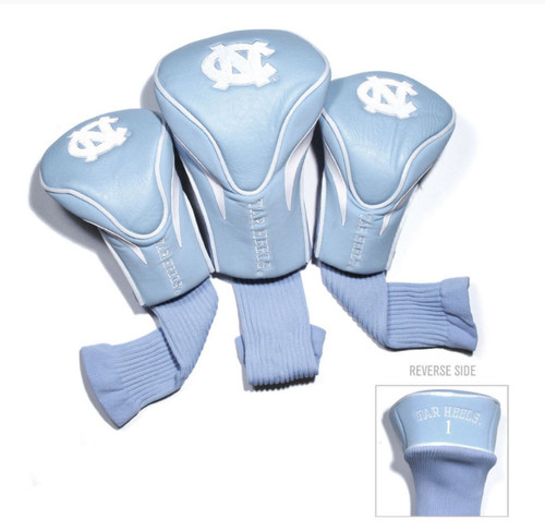 3 Carolina headcovers - Carolina Blue head cover with interlocking NC and lettering Tar Heels.