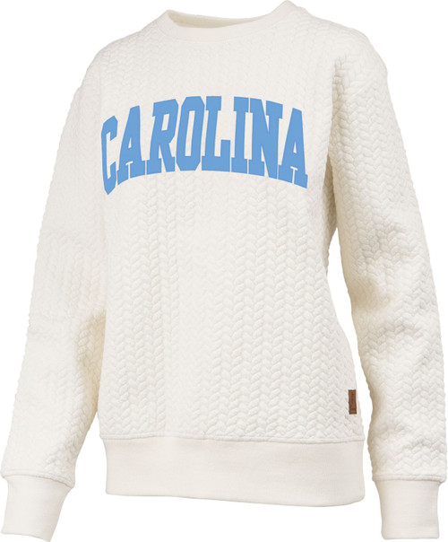 Cable knit fleece with an arc Carolina letters.