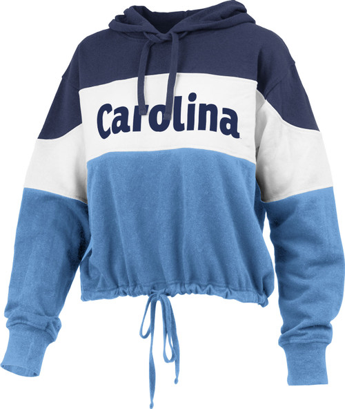 This is a tri-color hood.  Hood and shoulders are navy.  Middle of body and sleeves is white.  Bottom of sleeves and body are Carolina Blue.  The bottom has a drawstring.  The decoration is CAROLINA across the white section.