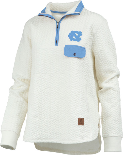 White quilted 1/4 zip top with an interlocking NC on the left chest over a Carolina Blue accent pocket.