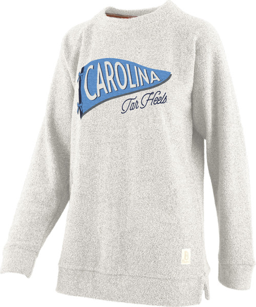 French terry fleece with a pennant design that holds the lettering Carolina with Tar Heels underneath.