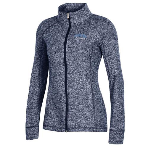 Navy heather full zip jacket with arc Carolina Tar Heels embroidery.