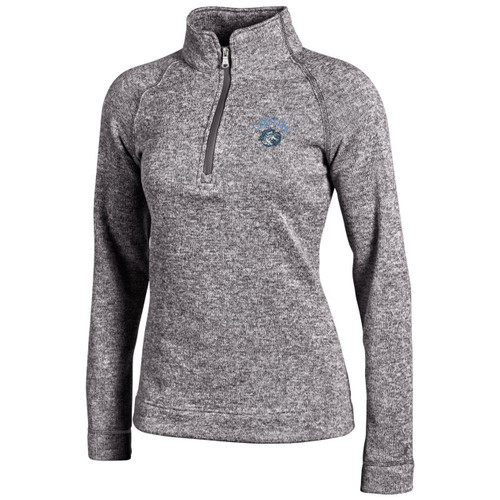 Heather gray 1/4 zip with an arc Carolina over the head of Rameses.