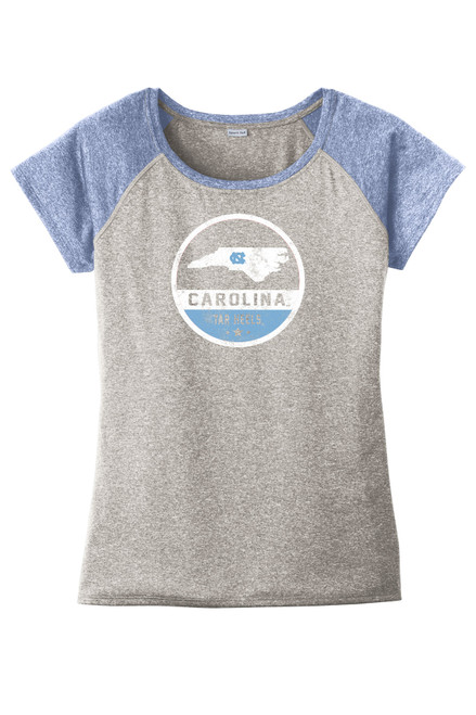 Raglan performance tee with Carolina Blue sleeves and a heather gray body.  Design is circle with state of North Carolina and lettering Carolina Tar Heels.