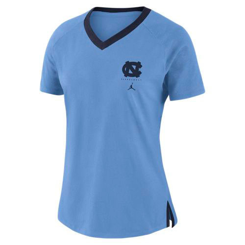 Carolina Blue ladies v neck ringer tee with a left chest interlocking NC over the Jumpman with the lettering Basketball.