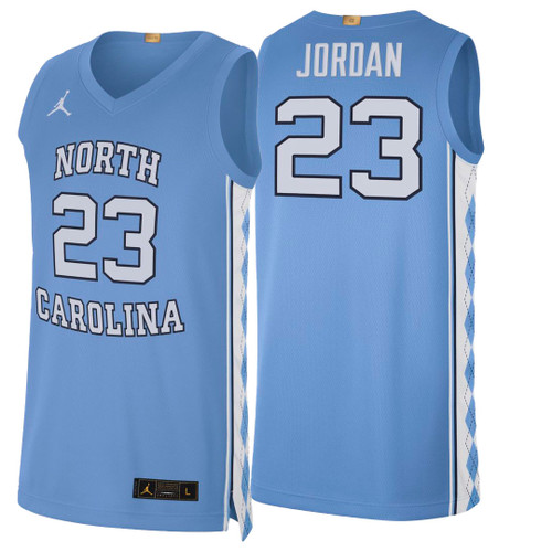 Carolina basketball jersey with number 23 and name Jordan on the back.