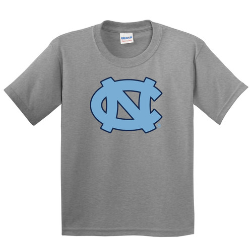 Youth gray tee shirt with a big interlocking NC.