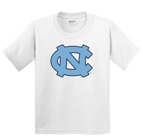 Youth white tee shirt with a big interlocking NC logo.