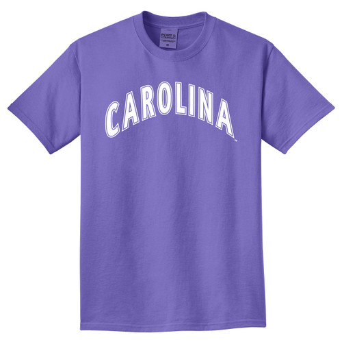 Light purple tee with white arc Carolina design.
