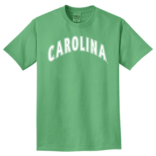 Green tee with white arc Carolina design.