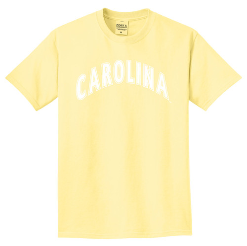Popcorn yellow tee with white arc Carolina design.