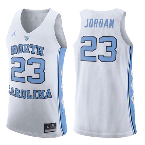 White jersey with North 23 Carolina and there is Jordan on the back.