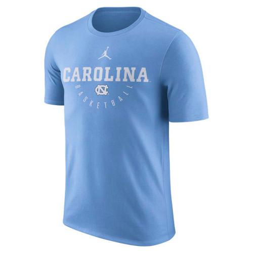 Carolina Blue tee with a straight Carolina over a reverse arc Basketball and an interlock NC.