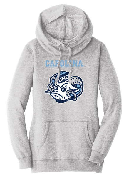 Gray hooded sweatshirt with a cowl neck.  Decorated with a print of Rameses head and lettering Carolina above it.