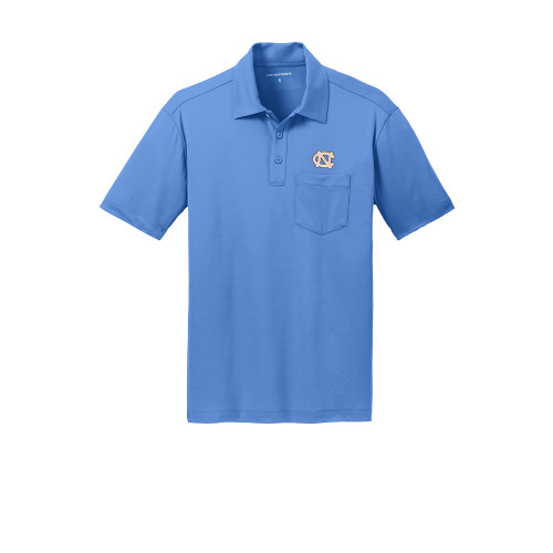 Carolina Blue polo with a pocket and an embroidered NC on the left chest.