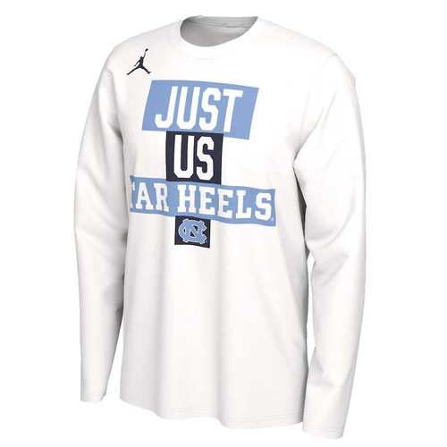 White long sleeve tee with front chest design with color blocks alternating Carolina Blue and Navy with the lettering JUST US TAR HEELS in a big athletic font.  There is an interlocking NC underneath.