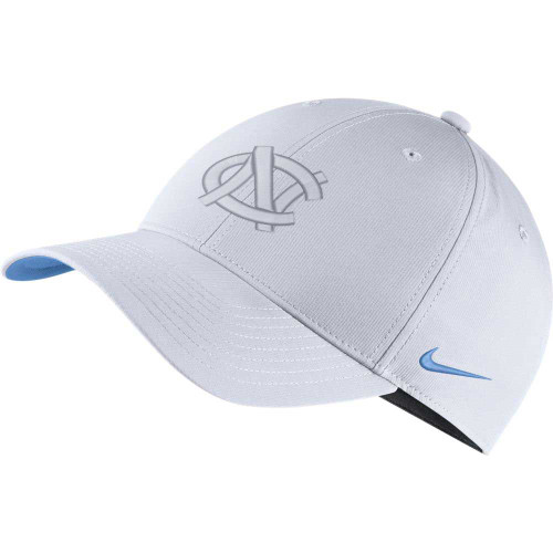 Adjustable hat that is white with an interlocking NC embroidery where embroidered interlock NC is also white.  Only the swoosh and the underside of the bill are Carolina Blue.