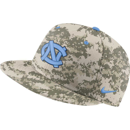 Flatbill fitted hat that digital camo.  It has an embroidered interlock NC on the front.