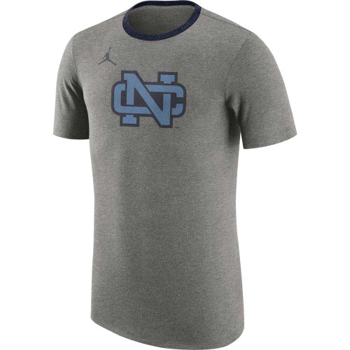 Gray triblend tee shirt with a navy ringer collar.  The design is the old vintage square interlock NC.