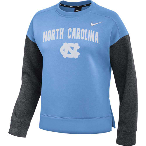 Women's crew with Carolina Blue body and gray sleeves.  The design is North Carolina in a slight arc over an interlocking NC.