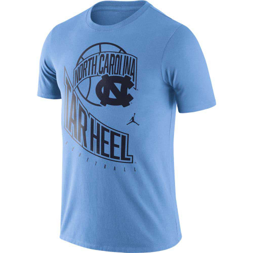 Carolina Blue tee shirt with a design that is difficult to explain.  It is all printed in navy ink - an outline of a basketball with a banner of North Carolina in front of it and an interlocked NC.  Then there is Tar Heel in big letters swooping down the shirt with small letters Basketball underneath and a Jumpman icon in between.