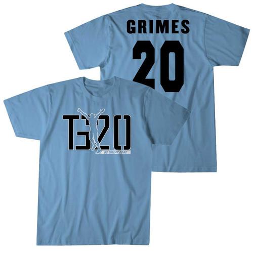 2021 NIL Tony Grimes #20 Carolina Blue Tee