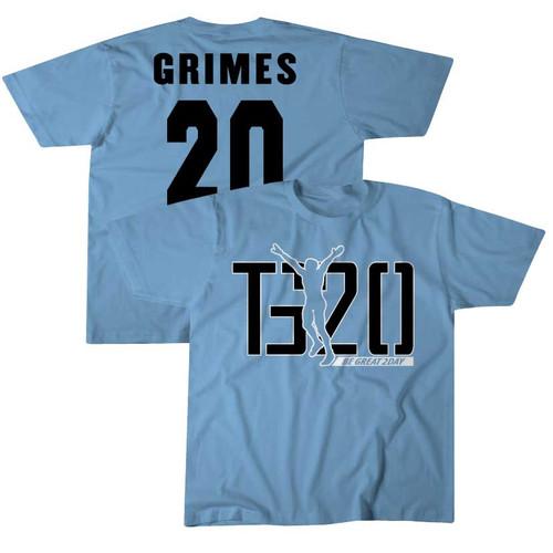 YOUTH 2021 NIL Tony Grimes #20 Carolina Blue Tee