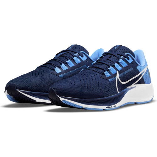 Navy running shoe with lots of Carolina Blue accents
