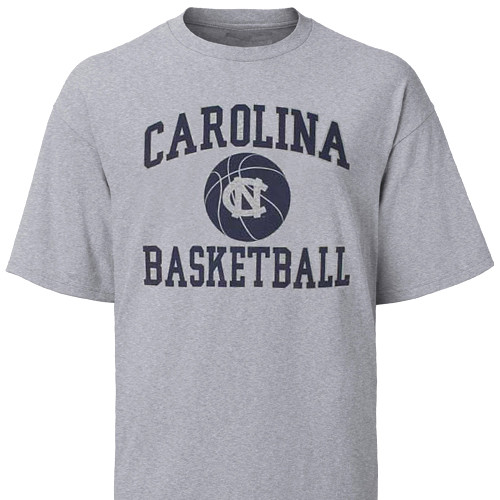 Gray Carolina Basketball tee with a big basketball icon