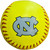 Actual fluorescent yellow softball with an interlocking NC printed on it.