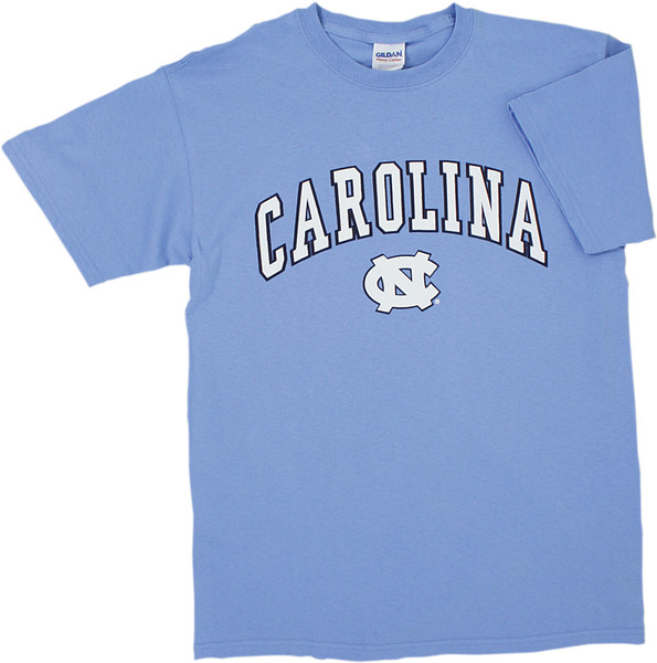 Carolina Blue tee shirt with Carolina in an arc over the interlock NC