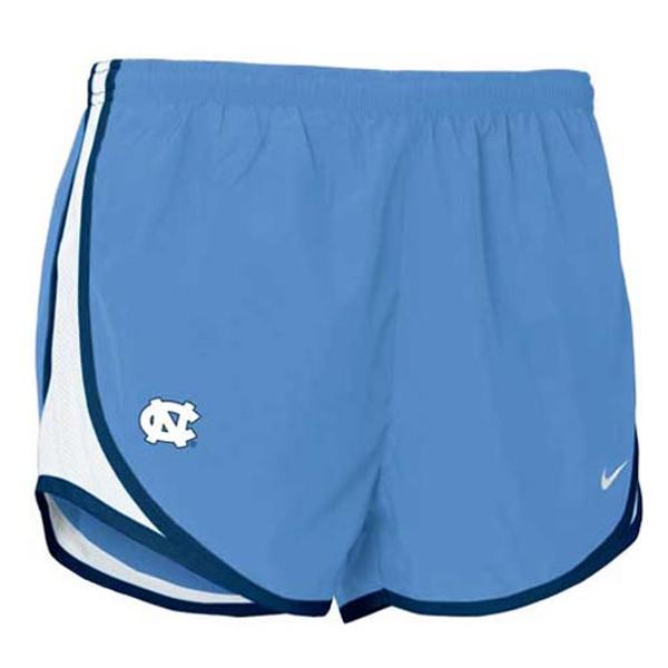 Nike Carolina Blue Tempo shorts with white mesh inserts and navy trim - interlocking NC on the left leg.