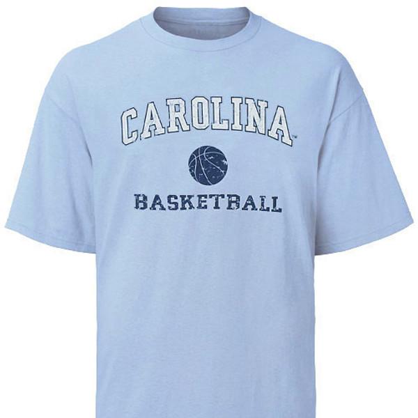 Carolina Blue Basketball Tee - faded arc Carolina with basketball icon