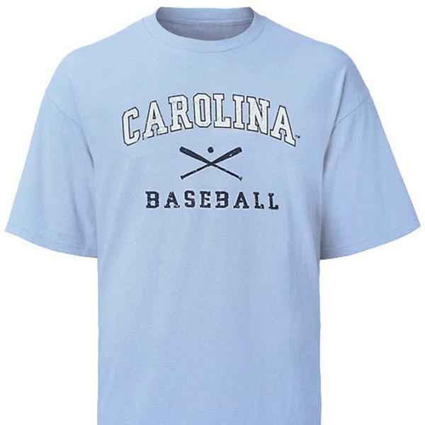 Carolina Blue Faded Baseball Tee - two color distressed logo featuring crossed bats with Carolina above and baseball beneath